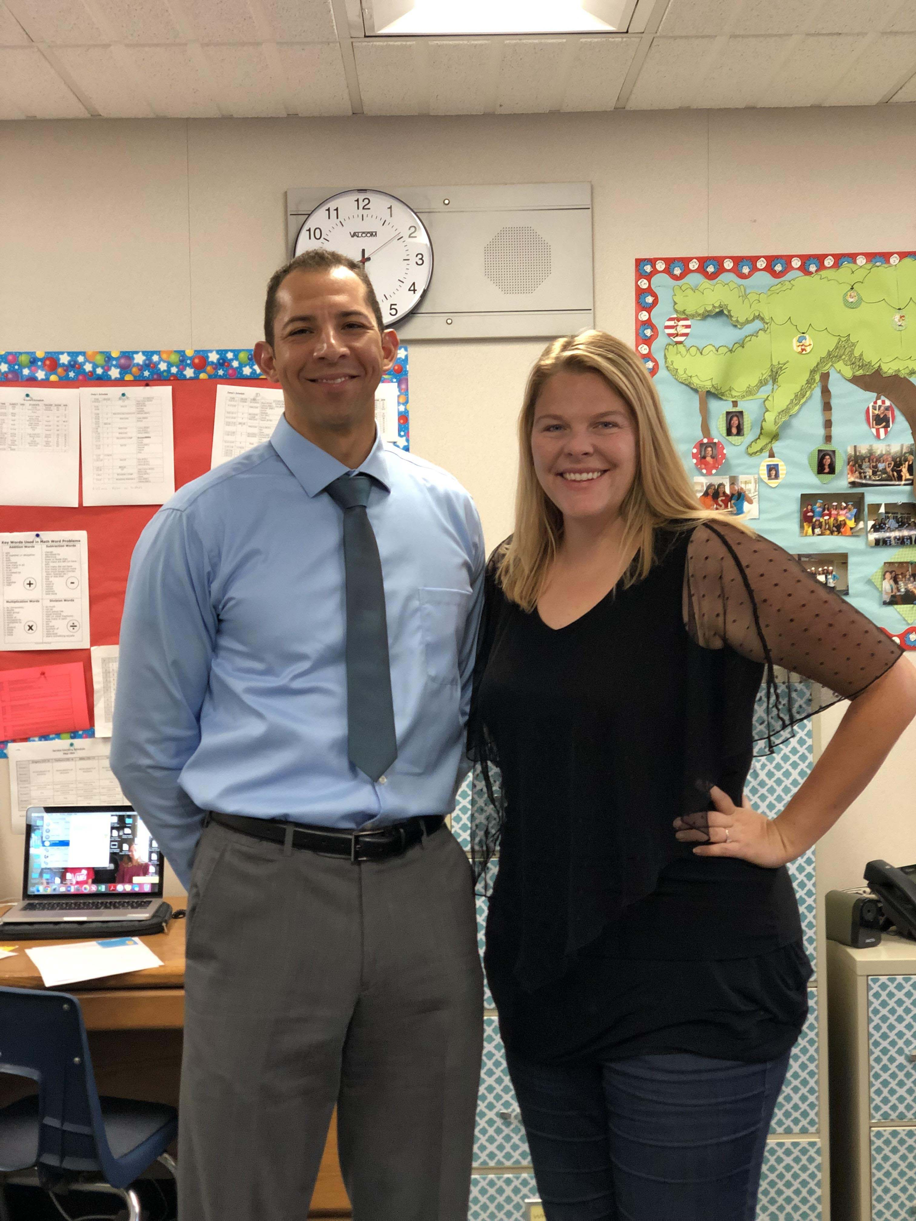 Jerry Voelker with Krystle Johnson in the classroom.