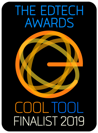 The edtech awards symbol. Black background with infinity circles and the words cool tool finalist.