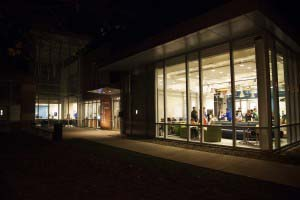 Perkins - Grousbeck Center at night