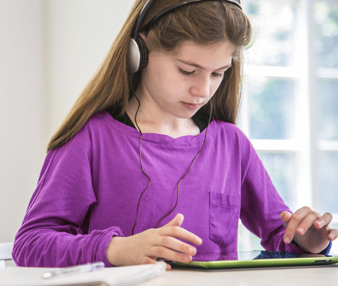 Dyslexic student reading audio books