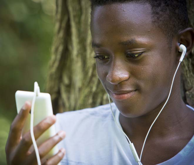 Dyslexic Student listening to audio books