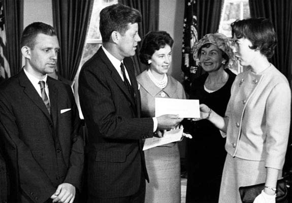 president kennedy meets awards winners