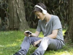 Student with an Audiobook