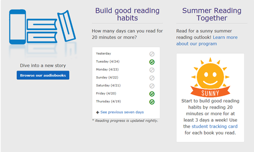 summer reading outlook on student dashboard