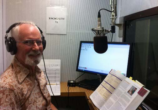 volunteer recording an audiobook